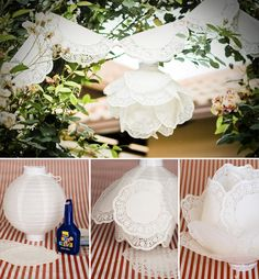 Diy paper doily lantern - the wedding assistant 아이디어 doilies Diy Lace Paper, Paper Doily Crafts, Paper Lace Doilies, Doilies Crafts, Paper Doilies Wedding, Craft Wedding, Diy Wedding, Wedding Decorations, Wedding White