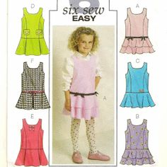 A Princess Seam, Drop-Waist Jumper Pattern with 6 Skirt & Trim Variations for Toddlers