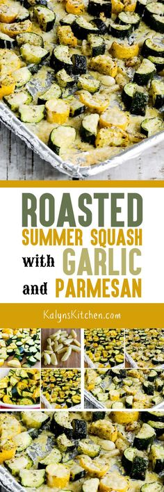 Roasted Summer Squash with Garlic and Parmesan is completely about the deliciousness of the roasted garlic, and this is an amazing way to cook late-season summer squash! Low Carb Vegetables, Veggies, Side Dish Recipes, Vegetable Recipes, Roasted Summer Squash, Roasted Squash, Low Glycemic Diet, Beach Meals, Cooking Recipes