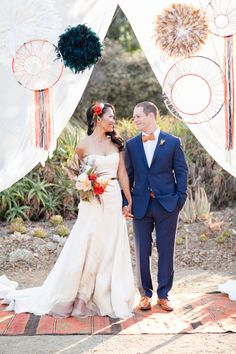 Um - how cute is this set up?!  Love the dream-catcher-esque details and all the texture!  Bohemian Desert Wedding with Mid-Century Influence featured on ruffledblog.com