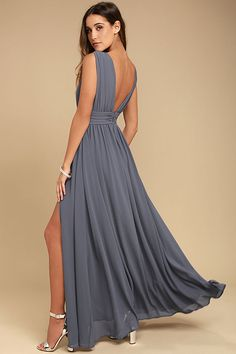 Lulus Exclusive! You'll be goddess-like for the entire evening in the Heavenly Hues Denim Blue Maxi Dress! Georgette fabric drapes alongside a V-neck and back, and lays across a banded waist. Full maxi skirt has a sexy side slit. Hidden back zipper with clasp.