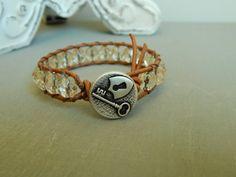 Leather wrap bracelet champagne colored czech by ShabbyChicGlam
