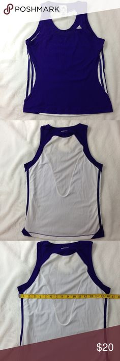Women's ADIDAS Climacool Workout Shirt Purple and White size medium ADIDAS Climacool workout gear... adidas Tops Muscle Tees
