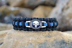 Thin Blue Line Punisher Paracord Bracelet W/ Hidden Handcuff Key