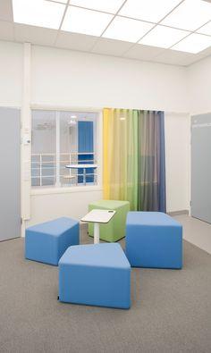 Aurinkovuoren koulu School Furniture, Office Furniture, Innovation, Haku, High School, School Ideas, Interior, Spaces, Inspiration