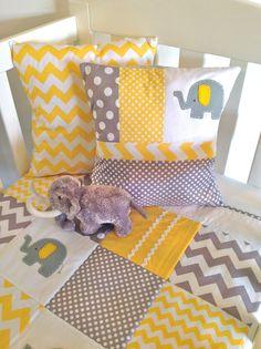 Elephant Baby Crib Quilt ....Yellow and grey by AlphabetMonkey