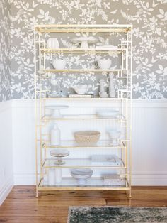 dining room gold etagere by Studio McGee Gold Etagere, Etagere Design, Condo Living Room, Living Spaces, Gold Shelves, Studio Mcgee, Up House, Open Shelving, Shelving Ideas