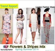 Flowers & Stripes Mix. #PrintMixFashion #Trend for Spring Summer 2014 at #London Fashion Week  #LFW #Spring2014 #Prints #Trends