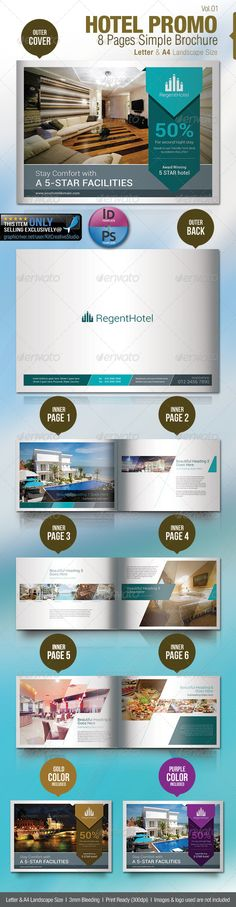 Hotel Promo 8 Pages Simple Brochure — Photoshop PSD #elegant #promotion • Available here → https://graphicriver.net/item/hotel-promo-8-pages-simple-brochure/5365431?ref=pxcr