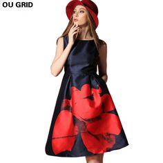 Красивое Платье с Большим Красным Цветком, Платье Большого Размера, Макси Платье Без Рукавов, Модное Женское Летнее Платье