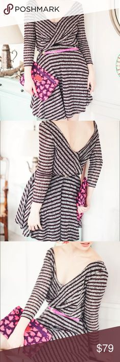 """Free People Maverick Stripe Sweater Dress Eggplant Free People Maverick Striped Sweater Dress in Eggplant, NEW with tags, Size XSmall. Retail $128  Nubby striped sweater knit fabric with surplice style front bodice. Light stretch, fully lined in soft black rayon knit (except for sleeves). Adorable little dress! Body 62% Poly, 38% Cotton, Lining 100% Rayon. Machine wash cold, tumble dry low, may be dry cleaned.  Measurements flat (unstretched): Bust 17.5"""" Waist 14"""" Hip open Length 32""""  Thanks…"""