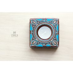 Hand painted candle holder, wooden candle holder, tealight holder,... ($27) via Polyvore featuring men's fashion and men's accessories