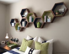 Wood Book Shelves Large Honeycomb Book Shelf by HaaseHandcraft
