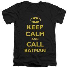 BATMAN/CALL BATMAN - S/S ADULT V-NECK - BLACK -