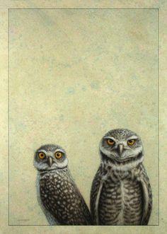 "Saatchi Art Artist James W Johnson; Drawing, ""Burrowing Owls"" #art"