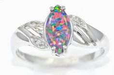 Black Opal & Diamond Marquise Ring Sterling Silver Dainty Gift For Her Jewelry Fashion Trend Beautiful Diamond Rings, Marquise Diamond, Black Opal, Jewelry Companies, Pink Sapphire, White Gold Rings, Or Rose, Custom Jewelry, Bling Bling