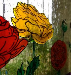 """Andreea Opris on Instagram: """"#ranunculus #windowpainting #windowpaint #stainedglass #stainedglasswindow #stainedglasswindows #rainydays"""" Ranunculus, Stained Glass Windows, Rainy Days, Painting, Instagram, Art, Art Background, Stained Glass Panels, Persian Buttercup"""