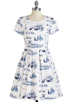 New Quirk City Dress - Mid-length, Cotton, Woven, Blue, Novelty Print, Print, Casual, Fit & Flare, Short Sleeves, White, Travel