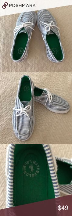 Polo seersucker lace up sneakers size 9. Polo blue and white seersucker lace up sneakers with white rope detail. Green insoles and green polo logo details. Comfortable and really cute. Only worn a couple times. Excellent condition. Make me an offer. Polo by Ralph Lauren Shoes Sneakers