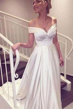 Elegant V-neck Cap Sleeves A-line Satin Wedding Dress Bride Gown - wedding dress Ivory Prom Dresses, Wedding Dress Train, Fit And Flare Wedding Dress, Cute Wedding Dress, Wedding Dress Trends, Modest Wedding Dresses, Lace Wedding, Bling Wedding, Gown Wedding