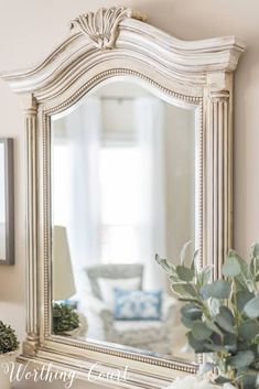 Before And After Budget Bedroom Makeover Reveal DIY painted mirror frame with white paint and gray g Redo Mirror, Mirror Makeover, Mirror Mirror, Chalk Paint Mirror, Mirror Painting, Paint Mirror Frames, Guest Bedroom Decor, Budget Bedroom, Furniture Makeover