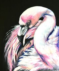 Black Flamingo original art painting by PaulH artwork animal #luxury #flamingo #art #artist #original #interiordesign #pink #animalart #wallart #pinxit