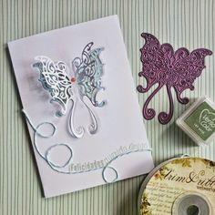 Tarjeta mariposa, celeste, verde y un toque de rosa!