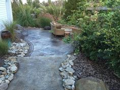 Stamped Concrete Cincinnati Ohio Fire Pit Seating Wall