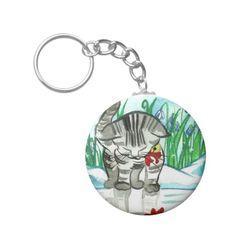 Winter Kitten Keychain   Zazzle.com