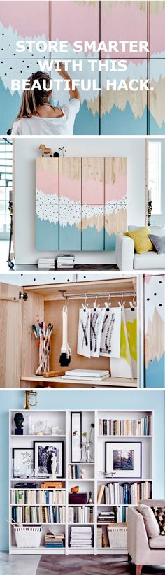 Store smarter with this beautiful IKEA IVAR hack. Furniture Makeover, Diy Furniture, Interior Exterior, Interior Design, Hacks Ikea, Home And Deco, Small Space Living, My New Room, Home Organization