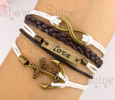 Anchor, Love & Infinity Bracelet, antique bronze anchor bracelet and infinity wish bracelet, brown braid and white wax cords bracelet. $8.99, via Etsy.