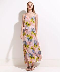 Vestido largo tropical sin mangas - OYSHO