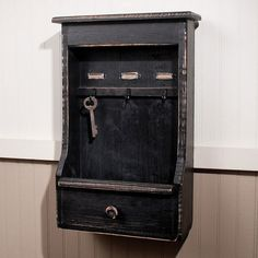 Fashioned From Wood And Vintage Black Finish Complete With Name Slots And 3 Key  Hooks,