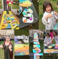 Found this fun painting idea on Instagram from Nicole! She filled little balloons with bright colored paint and put them in bowls. The kids each got a wooden letter from their name and taped whatever colored balloons they wanted to it. Then the kids popped the balloons and the party began! They look amazing…how fun for kids …