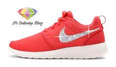 "Nike ""Bling"" Roshe #Run Women's Ember Glow/Peach Cream by #NoOrdinaryBling"