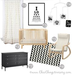 Black and White with a hint of girly. ikea poang chair and ikea dresser Nursery Room, Girl Nursery, Kids Bedroom, Chic Nursery, Nautical Nursery, Nursery Modern, Nursery Neutral, Modern Nurseries, Nurseries Baby