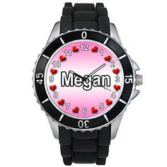 BMSC131 Name Megan Mens Ladies Fashion Black Jelly Silicone Strap Wrist Watch >>> Visit the image link more details.