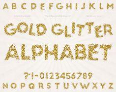 Glitter Alphabet Clipart Clip Art: Gold Glitter