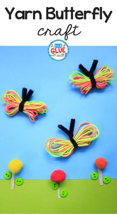 Not only is this Rainbow Yarn Butterfly Craft lovely, but it is perfect to develop some fine-motor skills & is a great sensory experience too! Kids Crafts, Crafts For Kids To Make, Summer Crafts, Yarn Crafts, Projects For Kids, Art For Kids, Craft Projects, Arts And Crafts, Craft Ideas
