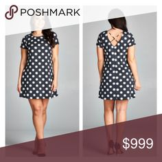 """(Plus) Polka dot dress Polka dot dress. Very stretchy and very TTS (I'm a 2x/16/18 and the 2x fit perfectly). Bust measurements are laying flat – they easily stretch well beyond that. 100% rayon. Charcoal/ white combo  1x: L  38"""" B 40"""" 2x: L 38"""" B 42"""" 3x: L 40"""" B 44"""" ⭐️This item is brand new without tags 💲Price is firm unless bundled ✅Bundle offers Availability: 1x•2x•3x • 2•2•1 Dresses"""