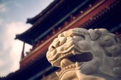 Do you know? Shishi 石獅 (Stone lion) are always presented in pairs in the door, a manifestation of yin and yang. The female lion (Ying) protects those dwelling inside while the male (Yang) guards the structure.	#Beijing #China