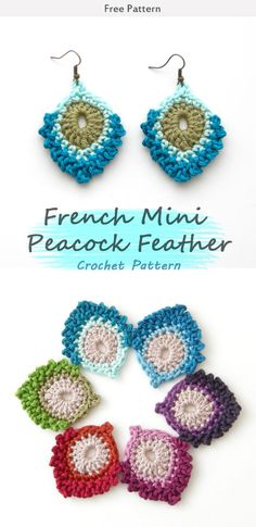 French Mini Peacock Feather Crochet Free Pattern #freecrochetpatterns #peacock #feathers