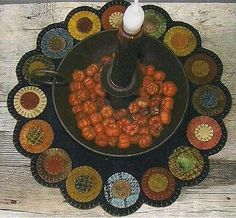 ~ SCRAPPY PENNY CANDLE MAT ~ Primitive Gatherings Wool Applique PATTERN & WOOL