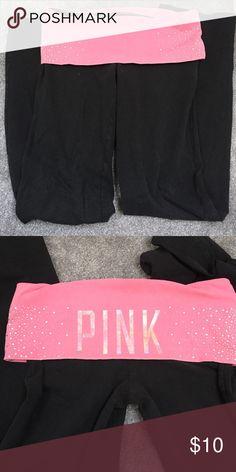 db53668e54ec2 Pink Victoria Secret yoga pants worn but in good condition pink band with  gems Victoria's Secret Pants Leggings