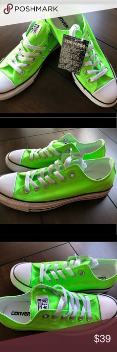 Converse All Star BRAND NEW!!! Tags still attached w/o box. Color that would turn heads! Get this new lime green converse and add this vibrant sneakers to your summer collection!! Converse Shoes Sneakers