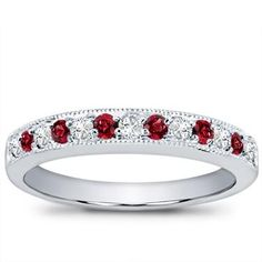 A gorgeous Milgrain and Pave Ruby wedding band