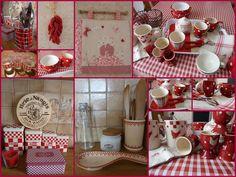 Tablier de cuisine à carreaux Vichy rouges et blancs et motifs de fruits