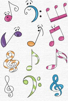 Free Embroidery Designs, Sweet Embroidery, Designs Index Page Music Drawings, Doodle Drawings, Doodle Art, Music Note Symbol, Music Symbols, Embroidery Patterns, Machine Embroidery, Music Images, Music Notes