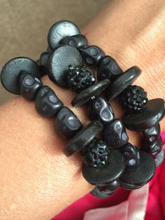 A personal favourite from my Etsy shop https://www.etsy.com/uk/listing/474826599/black-skull-triple-bracelet