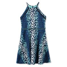 Girls' Lots of Love by Speechless Cheetah A Line Dress - Aqua - 12, Blue
